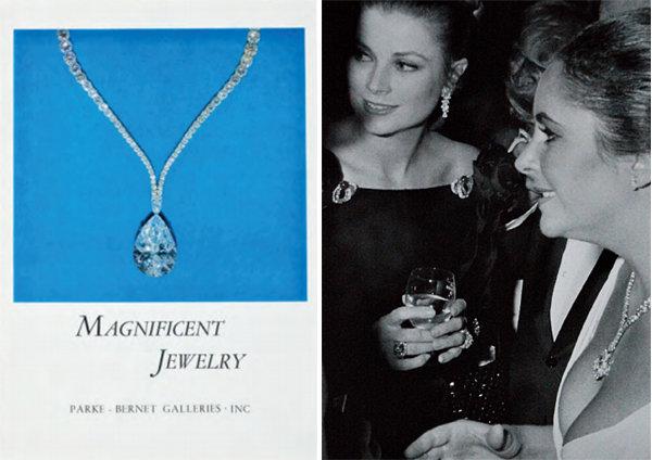 1969년 경매 포스터(왼쪽). 그레이스 켈리 모나코 왕비의 40번째 생일 파티에 참석한 엘리자베스 테일러. [구글이미지, 그레이스켈리 페이스북 캡처]