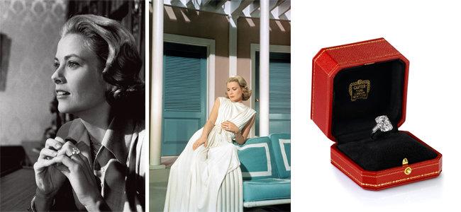 약혼반지를 착용한 그레이스 켈리가 주연을 맡은 영화 '상류 사회'의 장면들과, 10.48캐럿의 약혼반지. [© Dennis Stock/Magnum Photos , © MGM, coll Sunset Boulevard, © Cartier]