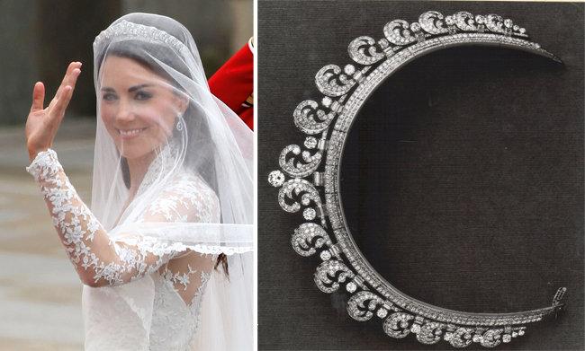 결혼식날 까르띠에 헤일로 티아라를 착용한 캠브리지 공작 부인, 케이트 미들턴(왼쪽).까르띠에 헤일로 티아라. [© Dan Kitwood/Getty Images, © Cartier]