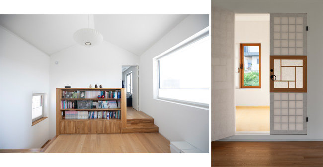 2층 거실과 침실 공간(왼쪽). 전통 한옥구조로 꾸민 사랑방의 창호. [사진제공=박영채, 지호영 기자]