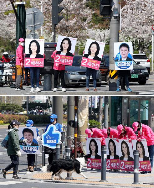 선거운동을 하는 양측 후보 캠프의 모습 [동아DB]