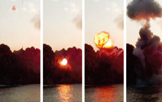 북한 조선중앙TV는 3월 22일 김정은 북한 국무위원장이 평북 선천 일대의 전술 유도무기 시범 사격 현장을 현지 지도했다고 보도했다. [조선중앙TV 캡처]