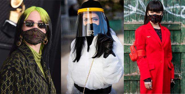 (왼쪽부터)빌리 아일리시는 지난 1월 구찌가 특별 제작한 마스크를 착용하고 그래미 시상식에 참석했다. 3월 3일 파리패션위크의 샤넬 패션쇼에서 화제를 모은 마스크 패션. 마린 세르가 2월 25일 파리패션위크에서 선보인 강렬한 에어필터 패션 마스크. [AP=뉴시스, GettyImages]