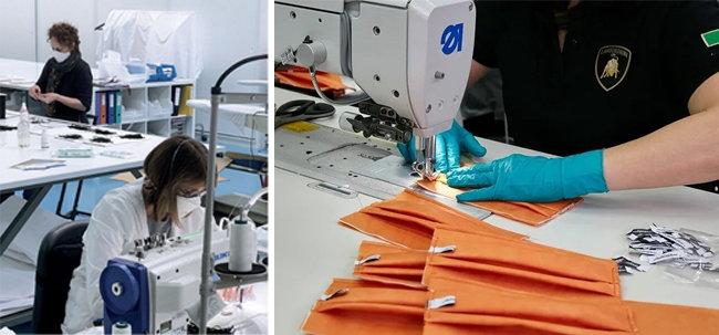 디올 마스크 생산 현장(왼쪽). 람보르기니 마스크 생산 현장. [디올 공식 인스타그램, 오토모빌리티 람보르기니 제공]