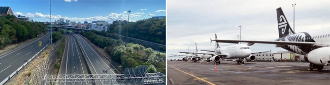 뉴질랜드 정부의 4주간 이동제한령에 따라 도로가 텅 비어 있다(왼쪽). 외국인 입국 금지 조치로 공항에 계류하고 있는 뉴질랜드 항공기들. [Newsroom.nz, Ai rNew Zealand]