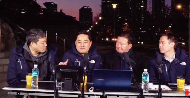 유튜브 채널 '가로세로연구소'에 출연한 미래통합당 민경욱 의원(오른쪽에서 두 번째). [가로세로연구소 유튜브 화면 캡처]