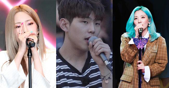 (왼쪽부터)헤이즈, 폴 킴, 볼빨간사춘기 [뉴스1, JTBC, 동아일보 김도균 기자]