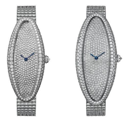 베누아 알롱제 주얼리 워치 Medium 모델. Extra Large 모델(왼쪽부터) [© Cartier]