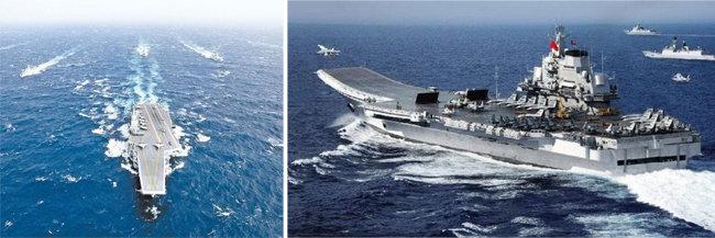 중국 해군의 랴오닝 항모전단이 대만해협을 거처 남중국해로 항해하고 있다. [China.mil, 중국군망]