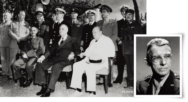 1943년 11월  카이로회담의 3거두  왼쪽부터 장제스,  프랭클린 루즈벨트,  윈스턴 처칠(왼쪽).  1942~44년 국민당군의 참모총장으로 파견된 조지프 스틸웰. [미국 국립문서기록관리청, 미국 국립육군박물관]