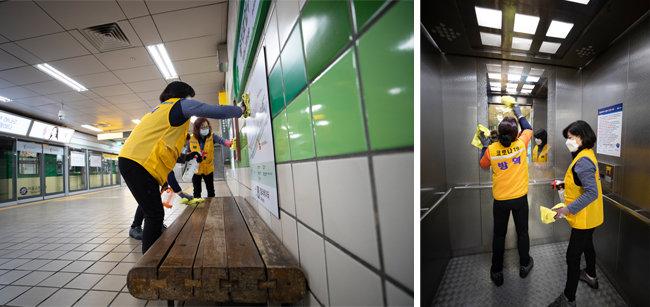서울지하철 2호선 을지로입구역 역사 내 안내판(왼쪽)과 엘리베이터를 소독하는 지하철 미화원들. [지호영 기자]