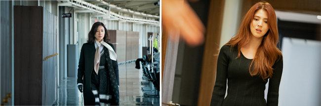 '부부의 세계'에서 세련된 패션 감각을 선보이는 김희애(왼쪽). 당당한 불륜녀의 교본 여다정 역으로 열연 중인 한소희. [jtbc]