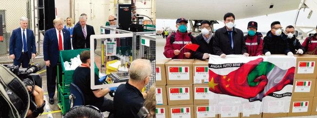 도널드 트럼프 미국 대통령이 애리조나주 하니웰 마스크 공장을 방문해 마스크 제조 과정을 살피고 있다(왼쪽). 중국 정부가 이탈리아를 지원하기 위해 파견한 의료진과 의료용품들. [트위터]