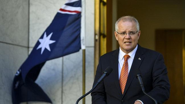 스콧 모리슨 호주 총리가 코로나19 기원에 대한 국제조사를 주장하고 있다. [AAP]