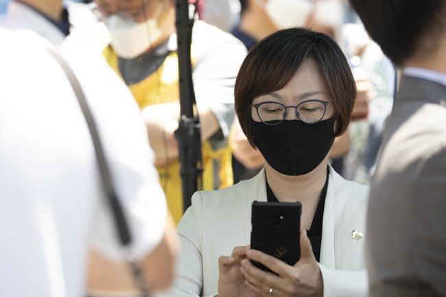 제1141차 수요집회에 참석한 이나영 정의기억연대 이사장.