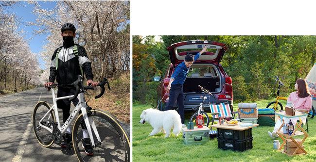 라이딩 인증한 농구스타 양동근(왼쪽). 차박 캠핑을 즐기는 가족. [양동근 인스타그램 캡쳐, 쌍용자동차 제공]