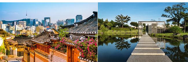 코로나 사태 이후 한국인의 여행 위시리스트에 오른 톱5 도시. 서울(왼쪽), 서귀포. [부킹닷컴 제공]