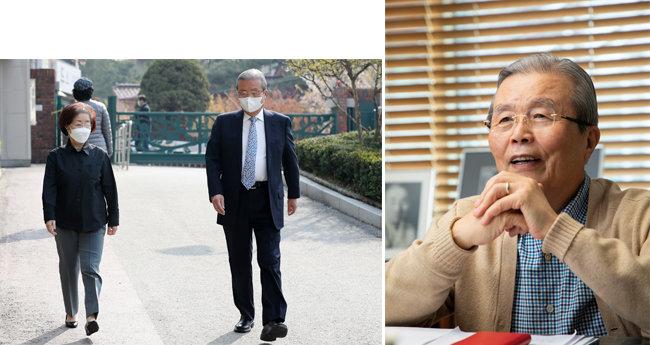 4월 15일 김종인 당시 미래통합당 총괄선거대책위원장이 부인 김미경 명예교수와 거리를 둔 채 21대 총선 투표소로 이동하고 있다(왼쪽). 3월 '주간동아' 인터뷰 당시 착용한 김종인 위원장의 평상복. 따뜻한 브라운톤과 차가운 블루톤이 어울렸다. [뉴스1, 동아DB]