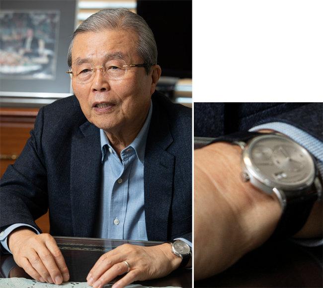 김종인 위원장이 가장 친한 독일인 친구로부터 선물 받았다는 '랑에 운트 죄네' 시계. [동아DB]