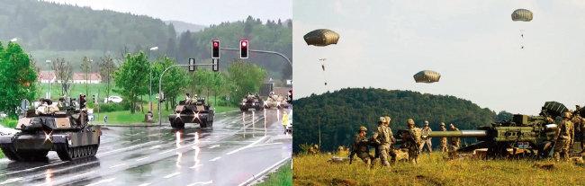 독일 주둔 미군 탱크와 대포들이 훈련을 위해  한 마을을 지나고 있다(왼쪽).  독일 주둔 미군 병사들이 낙하산으로 각종 무기를 투하하는 훈련을 실시하고 있다. [미국 육군]