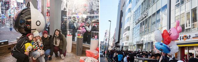 라인프렌즈 뉴욕 타임스퀘어 스토어와 일본 하라주쿠 스토어 오픈 당시 모습. [라인프렌즈 제공]