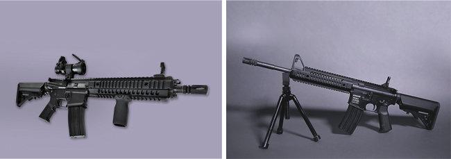다산기공이 생산한 소총들. CAR816(왼쪽). DSAR15. [다산기공]