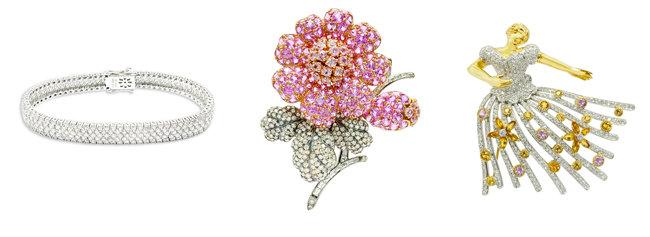 총 6.36캐럿이 세팅된 세인트 다이아몬드 팔찌(왼쪽부터). 사파이어가 메인 스톤으로 세팅된 브리아나 사파이어 브로치. 다이아몬드와 5개의 핑크 사파이어가 세팅된 발레리나 다이아몬드 브로치. [케이옥션]