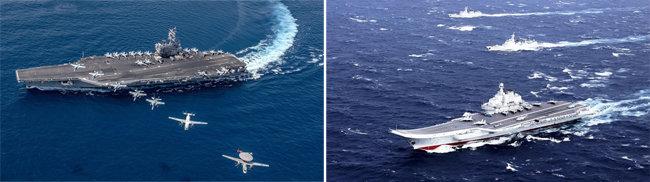 미국 항모 레이건호에 탑재된 각종 함재기가 출격하는 모습(왼쪽). 중국 랴오닝호 항모전단이 대만해협을 거처 남중국해로 항해하고 있다. [US Navy, China.mil]