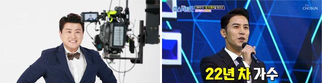 김호중의 광고 촬영 현장(왼쪽). '미스터트롯' 톱7 중 맏형 장민호. [뉴스1, tv조선 제공]