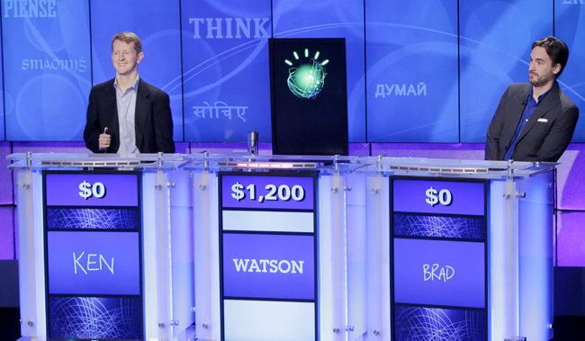 IBM사의 왓슨이 2011년 1월 13일 제퍼디 미국 퀴즈쇼에 출연하고 있다. [AP=뉴시스]