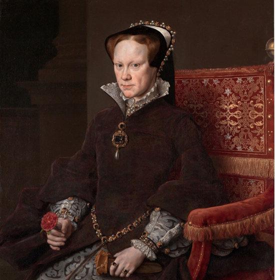 라 페레그리나를 착용한 1554년 영국 여왕 메리 1세. [Wikimedia Commons]