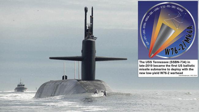 미국 핵잠수함 테네시호와 저위력 핵탄두 W76-2. [FAS.jpg]