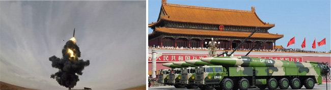 중국 인민해방군이 '괌 킬러'로 불리는 DF-26을 시험발사하고 있다(왼쪽). 중국의 중거리탄도미사일 DF-26. [CCTV, China.mil]