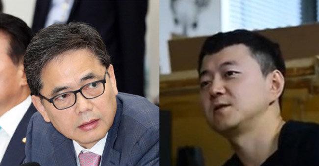 곽상도 미래통합당 의원(왼쪽)과 문재인 대통령 아들 준용씨. [뉴시스]