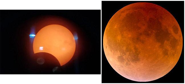 달이 태양 일부를 가리는 부분일식(왼쪽). 지구 그림자 속으로 달이 들어가는 월식. [부산금련산수련원 제공, 위키피디아]