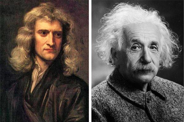 뉴턴은 중력을 질량이 있는 물체와 물체 사이에 작용하는 힘이라고 믿었다(왼쪽). 아인슈타인은 중력을 물체 간이 아닌, 오직 시공간에만 작용하는 힘으로 생각했다. [위키피디아, 미국의회도서관]
