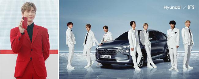 지난해 KT 갤럭시노트10 레드 광고 모델로 활약할 당시 강다니엘(왼쪽).  현대자동차 글로벌 수소캠페인에 브랜드 홍보대사로 참여한 방탄소년단. [뉴스1, 현대자동차]
