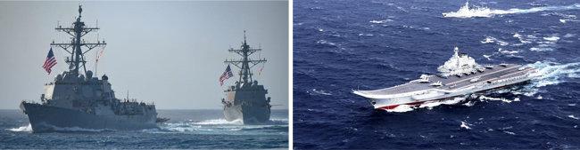 미국 해군 구축함 2척이 대만해협을 통과하면서 항행의 자유 작전을 벌이고 있다(왼쪽). 중국 랴오닝호 항모전단이 대만해협을 거처 남중국해로 항해하고 있다. [US Navy, China.mil]
