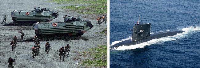 대만 해병대가 상륙 훈련을 실시하고 있다(왼쪽). 대만 해군이 보유한 노후 잠수함이 수면에서 항해하고 있다. [자유시보, CNA]
