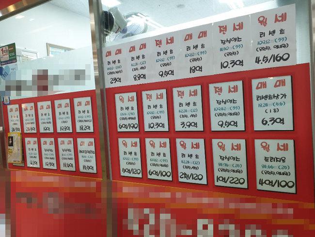 서울 잠실동 리센츠 아파트 상가 부동산 유리벽에 붙어 있는 전·월세 매물표. [동아DB]
