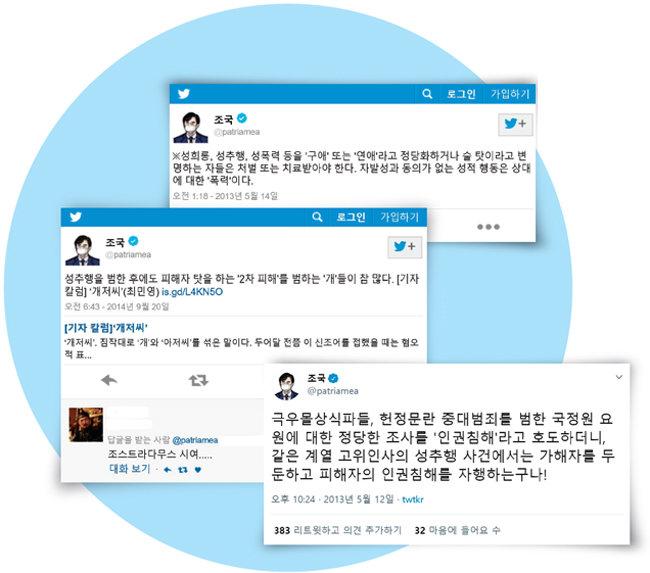 조국  전 법무부 장관의  과거 트위터. [트위터 캡처]