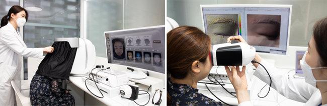아이오페 랩의 테일러드 프로그램. 첨단 기기로 피부를 촬영하고 면밀히 분석한다.