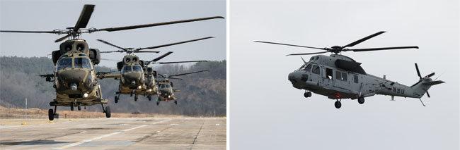 국산 '수리온' 기동헬기(왼쪽)와 바닷물 염분에도 버틸 수 있도록 방염 처리 등으로 수리온을 개량한 '마린온' 헬기. [뉴스1]