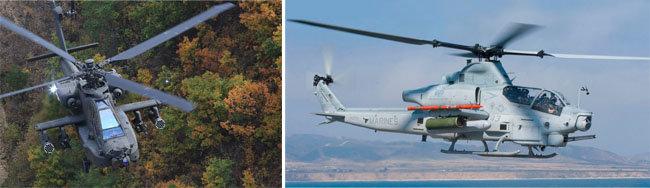 해병대는 10여 년 전부터 AH-64 아파치 공격헬기(왼쪽)와 AH-1Z '바이퍼' 공격헬기 등 2개 파로 나뉘어 경쟁했다. [육군 제공, 미국해군 제공]