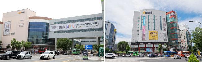 리뉴얼 후 매출이 급증하고 있는 '이마트타운 월계점'(왼쪽).  7월 16일 문을 연 '이마트 신촌점'.