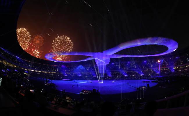 2019년 개최된 전국체전 주경기장의 무한대를 형상화한 조형물.[동아DB]