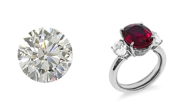 5.96ct 다이아몬드와 6.01ct 루비 반지. [케이 옥션]