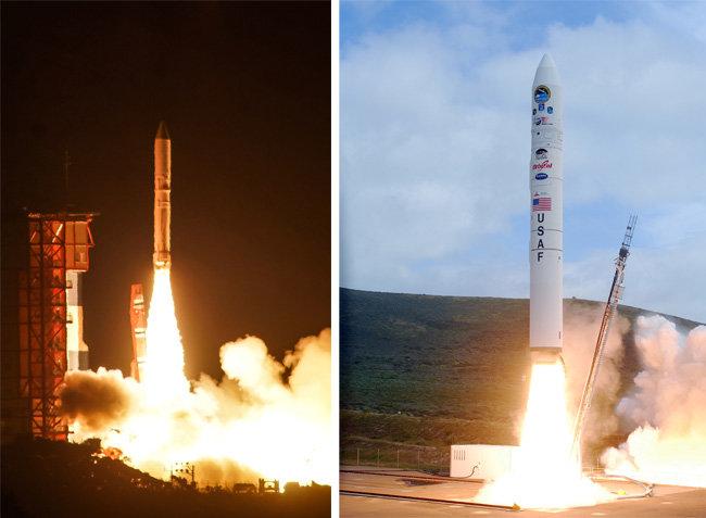 일본 엡실론(왼쪽)은 크기와 중량, 제원 에서 미국의 상업용 고체연료 로켓 미노타우르 4호와 대단히 유사하다.[위키피디아, 미국 공군]