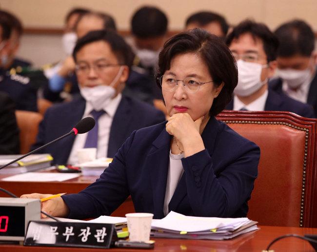 추미애 법무부 장관이 7월 27일 국회에서 열린 법제사법위원회 전체회의에 참석했다. [동아DB]