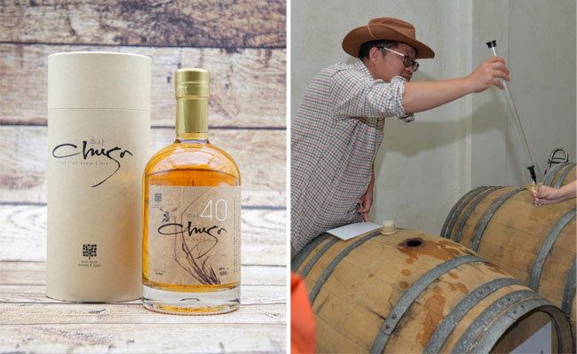충남 예산에서 생산되는 사과 브랜디 '추사'(왼쪽). 이 술은 오크통에서 3~5년간 숙성된 뒤 제품으로 출시된다. [예산사과와이너리 제공]